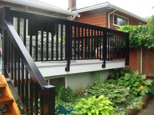 Front View - Fascia Mount Black Picket Railing