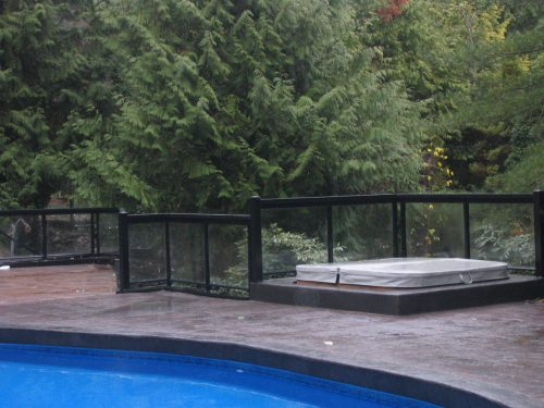 Glass Railing around hot tub